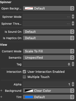 The Spinner Attributes Inspector Options
